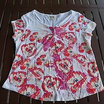 Women's Lucky Brand Short Sleeve White Flower Shirt Size 2x   Photo