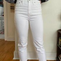 Women's Madewell High Rise White Ankle Straight Jeans Size 27 / 4 Photo