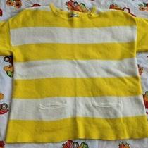 Women's Madewell Small Medium Weight Sweater Short Sleeve Yellow / White Striped Photo