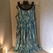 Women's Maggie Barnes Aqua Blue/black Dress 2x Nwot Photo