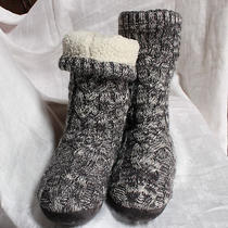 Women's Marled Gray Gap Soft Fleece Lined Cable Knit Sweater Slippers Sz S (5-6) Photo