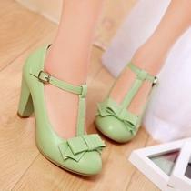 Women's Mary Janes Bowknot T-Strap Chunky Heel Candy Sweet Round Toe Vogue Shoes Photo