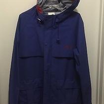 Women's Medium Raincoat Against the Elements Blue Hooded Free Shipping  Photo