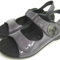 Women's Mephisto Blue Patent Leather Elastic Strap Open-Toe Sandals Size 7 M Photo