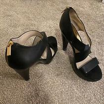 Womens Michael Kors Size 8 Strappy Sandal With Zip Closure Platform Heel Black Photo