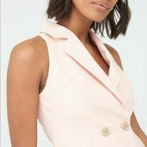 Women's Michelle Keegan Button Waistcoat Tailored Blazer Rose Blush Size Uk 8 -6 Photo