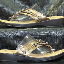 Women's Minnetonka Bronze Leather Open Toe Thong Mules Slides Sandals Size 7 Photo