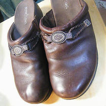 Women's Minnetonka Brown Leather Clogs Slides Mules Southwest Design 8.5 Photo