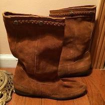 Women's Minnetonka Moccasin Boots Size 10 Leather Boho Braided Slip On Photo