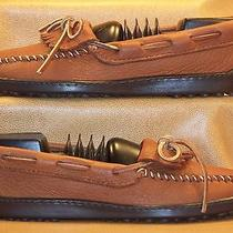 Women's Minnetonka Moccasin Tan Pebbled Glove Leather Kiltie Mocs Size 5 Photo