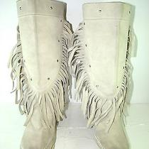 Women's Minnetonka Moccasins Boots Beige Mid Calf High Sz 6 Fringe Studs Photo