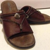 Women's Minnetonka Size 6 Slip on Brown Sandals Ladies Slides Braided Leather Photo