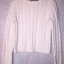 Women's Misses M Medium Express Top T-Shirt Shirt Sweater Ivory Cable Knit Photo