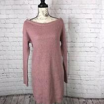 Women's Missguided Blush Off the Shoulder Ribbed Long Sleeve Sweater Dress S/m Photo