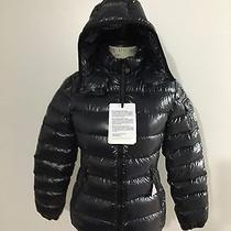 Women's Moncler Bady Lacquer Hooded Puffer Jacket Size 1 (Small) Navy Blue Photo