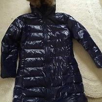 Women's Moncler Lacquer Long Goose Down Coat  Size 7 Large Blue Photo