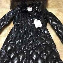 Women's Moncler Lontre Lacquer Down Coat With Fur Hood Size 4 Black Nwt Photo