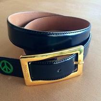 Women's Moschino Belt Sz Small  S  Black Leather W/ Gold Buckle Photo