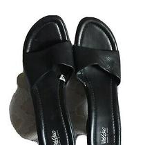 Womens Mossimo Black 3 Tall Wedge Open Toe Sandals Leather Upper Strap Size 9 Photo