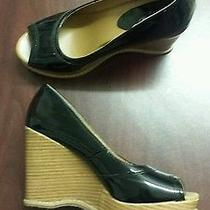 Women's Mossimo Black Patent Leather Peep Toe Wedge Shoes Sz 7.5 Photo