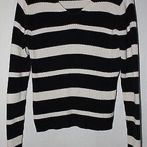 Women's Mossimo Black & White Stripe Long Sleeve Sweater Size Medium Photo