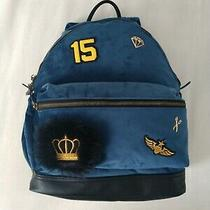 Women's Mossimo Blue Velour Backpack Embellished Patches Scissor & Diamond Pins Photo