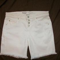 Women's Mossimo Button Fly  White Denim Shorts - Size 2 - Boyfriend Short Photo