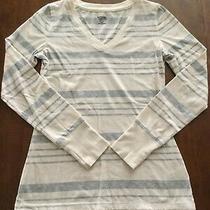 Women's Mossimo Ls v-Neck Knit Top Size Xs Cream/light Gray Stripe Photo