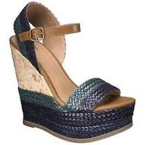 Women's Mossimo Open Toe Wedges Sandals Size 8.5  New Green Blue  Multi New  Photo