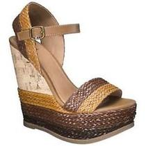 Women's Mossimo Open Toe Wedges Sandals Size 9.5 New Orange Brown Multi  Photo