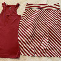 Womens Mossimo Skirt Outfit M Tank L Skirt Red Stripe Gently Used Photo