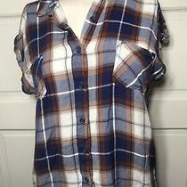 Women's Mossimo Supply Co Sleeveless Shirt Size S Plaid Button Blue Brown Top Photo