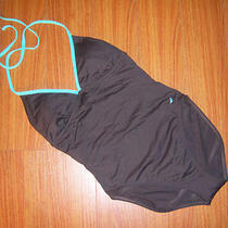 Women's Nautica Brownaqua Blue One Piece Swimsuit Swimwear Size 8 New Photo
