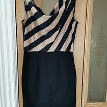 Women's Navy Beige Cowl Neck Smart Classy Mini Dress Topshop Glamorous Uk 8 10 Photo