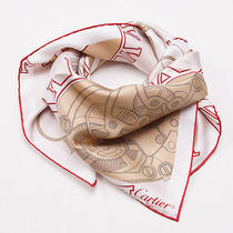 Women's New 330 Cartier Gold and Red Printed Watch Movement Motif Silk Scarf Photo