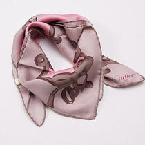 Women's New 330 Cartier Light Brown and Pink Ribbon and Bow Motif Silk Scarf Photo