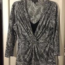Womens Nice Elements Black & White Stretchy Shirred Blouse Top Shirt Size Xl Photo
