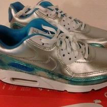 Women's Nike Air Max 90 Prm Qs Silver Clearwater Blue Lacquer 744596 002 sz.6.5 Photo