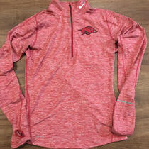 Womens Nike Dri Fit Element Arkansas Razorbacks Red L/s Half Zip Running Shirt Photo