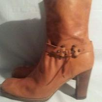 Women's Nine West Camel Brown Fashion Leather Ankle Boots Size 9.5 Photo