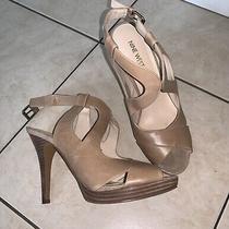 Women's Nine West Cognac Beige Heels Sz 8 Photo