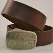 Women's Nine West Leather Belt Brown Leather Fancy Silver Tone Buckle Sz Lg  Photo