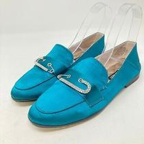 Women's Nine West Worktime Satin Flats Blue Green Size 7.5 Slip on Shoes Jeweled Photo
