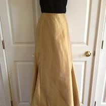 Women's Nwot Reem Acra New York Gold Silk Taffeta Formal Long Skirt Gown 4 Photo