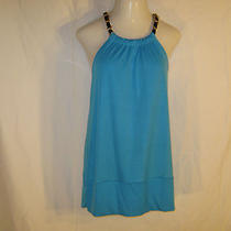 Women's Nwt 23rd St. Aqua Blue Blouse With Chain Braided Shoulder Straps Size Xl Photo