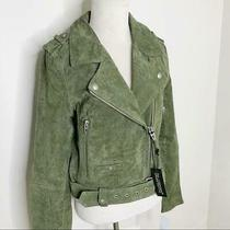 Women's Nwt Blank Nyc Pine Green Suede Cropped Moto Jacket Sz M Photo