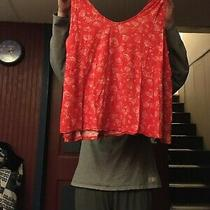 Women's Old Navy Red Floral Tank  Size Xl    Photo