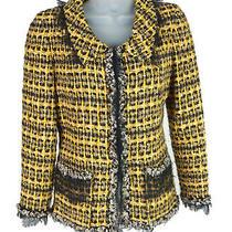 Women's Oscar De La Renta 2010 Yellow Metallic Tweed Blazer Jacket Size 6 Photo
