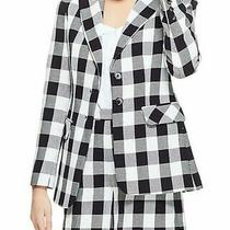Women's Pearl by Lela Rose Black and White Plaid Blazer Jacket Size 6 Photo