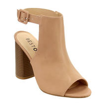 Women's Peep Toe Slingback Block Heel Ankle Bootie Sandals Blush Size 8 Photo